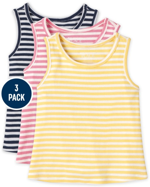 Baby And Toddler Girls Sleeveless Ribbed Tank Top 3-Pack
