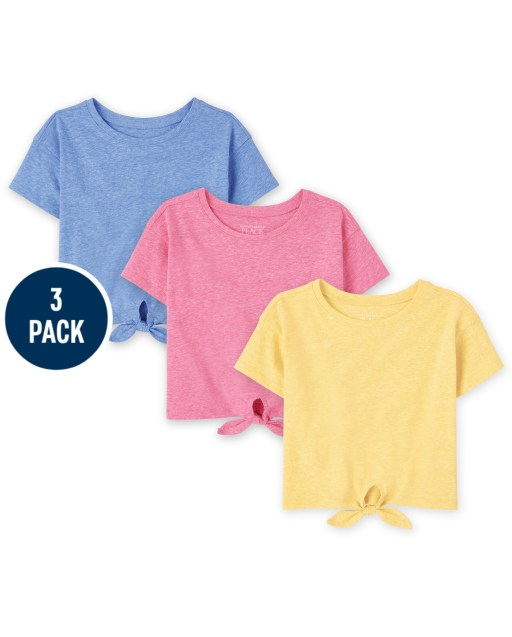 Baby And Toddler Girls Short Sleeve Tie Front Top 3-Pack