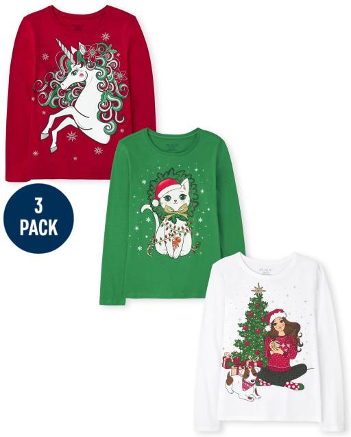Girls Long Sleeve Christmas Graphic Tee 3-Pack
