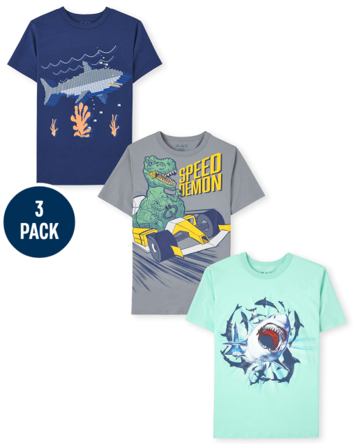 Boys Short Sleeve Animal Graphic Tee 3-Pack