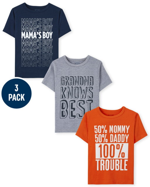 Toddler Boys Short Sleeve Family Graphic Tee 3-Pack