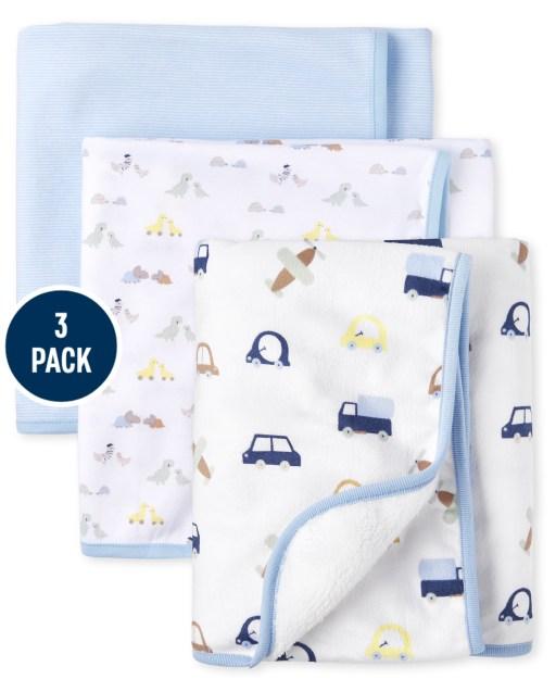 Baby Boys Transporation Cozy And Swaddle Blanket Juego de 3 piezas