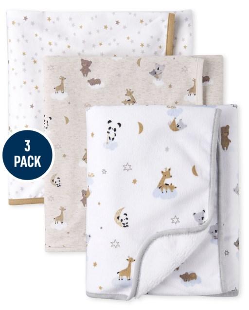 Unisex Baby Bear Cozy And Swaddle Blanket 3-Piece Set