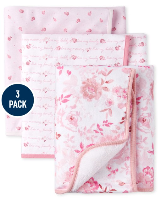 Baby Girls Rose Cozy And Swaddle Blanket 3-Piece Set