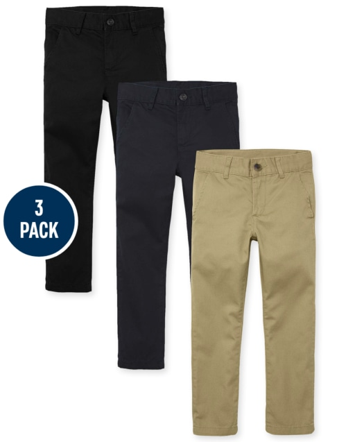 Boys Uniform Woven Stretch Skinny Chino Pants 3-Pack