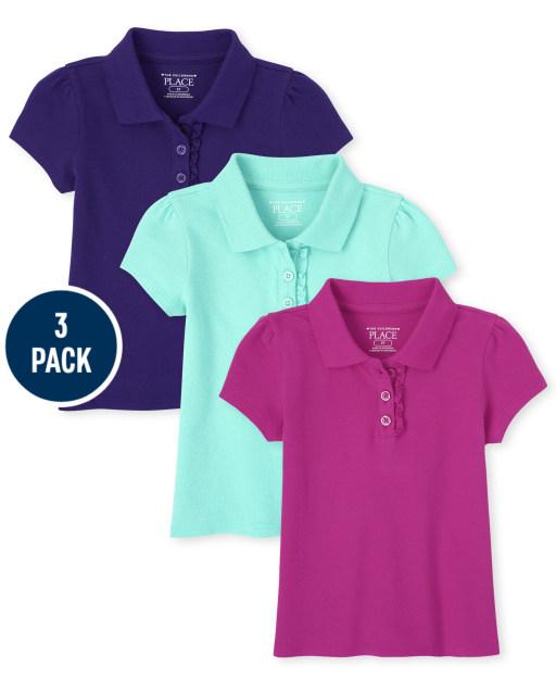 Toddler Girls Uniform Short Sleeve Ruffle Pique Polo 3-Pack