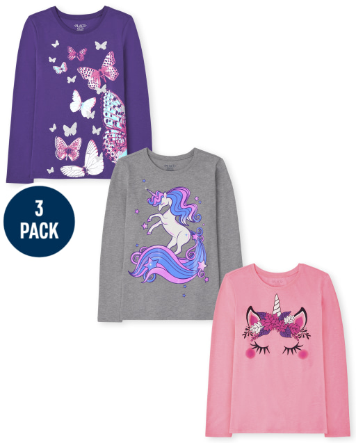 Girls Long Sleeve Unicorn And Butterfly Graphic Tee 3-Pack