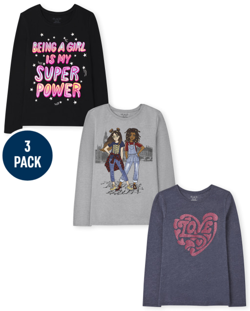 Girls Long Sleeve Love And Girls Graphic Tee 3-Pack