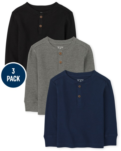 Toddler Boys Long Sleeve Thermal Henley Top 3-Pack