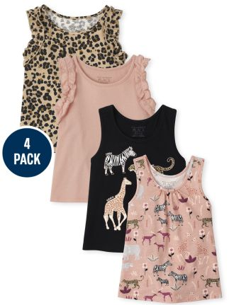 4-Pack The Childrens Place Toddler Girls Ruffle Tank Top