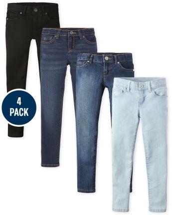 Girls Basic Stretch Super Skinny Jeans 4-Pack