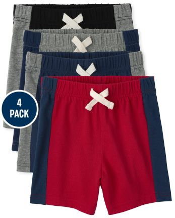 Baby And Toddler Boys Side Stripe Shorts 4-Pack