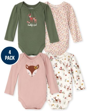 Baby Girls Deer Bodysuit 4-Pack