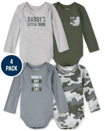 Baby Boys Camo Bodysuit 4-Pack