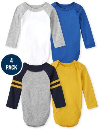 Baby Boys Raglan Bodysuit 4-Pack