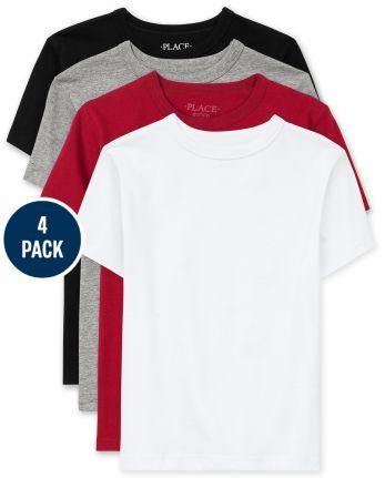 Paquete de 4 camisetas básicas de uniforme para niños