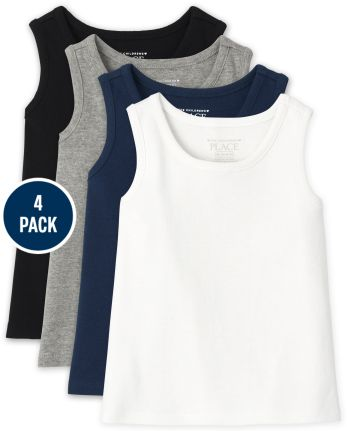 Baby And Toddler Girls Ribbed Tank Top 4-Pack