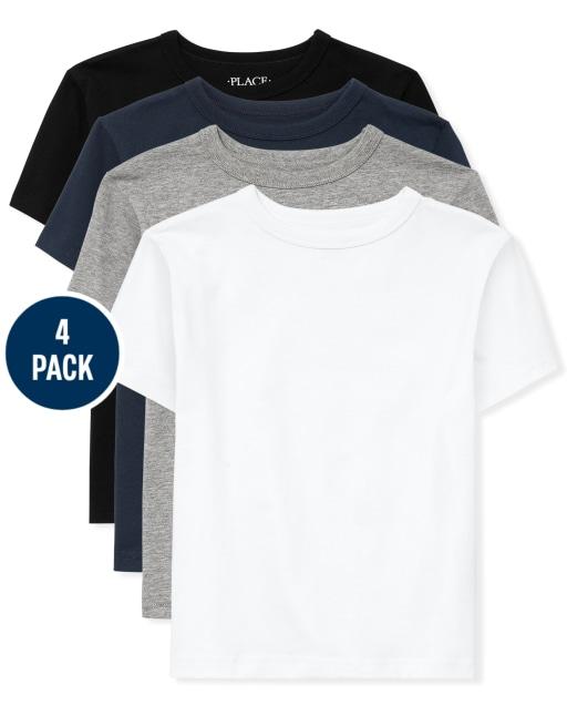 Boys Short Sleeve Uniform Basic Layering Tee 4-Pack