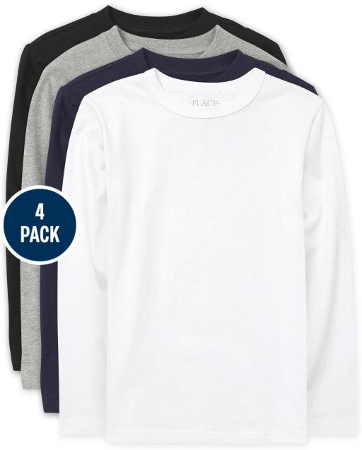 Boys Uniform Long Sleeve Basic Layering Tee 4-Pack
