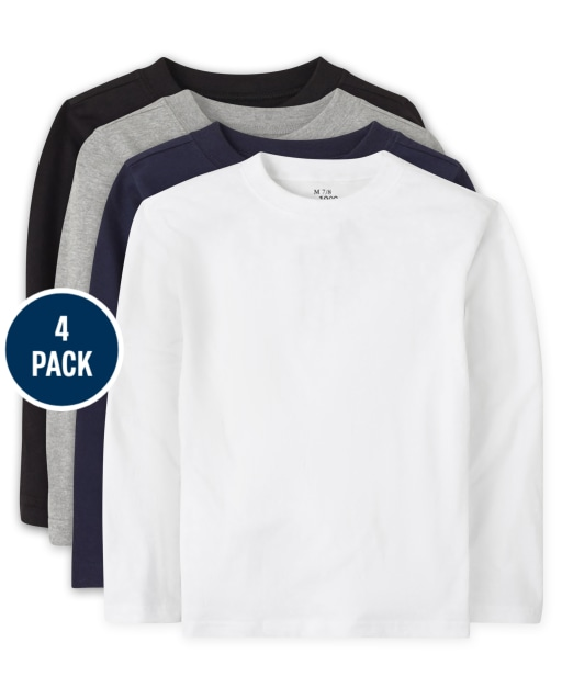 Baby And Toddler Boys Uniform Long Sleeve Basic Layering Tee 4-Pack