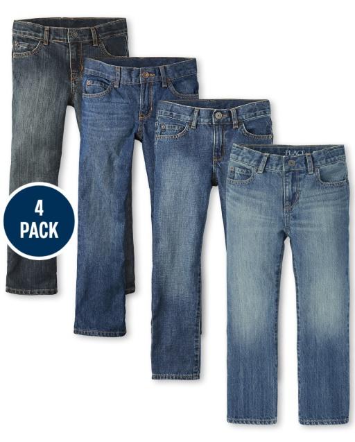 Paquete de 4 jeans básicos bootcut para niños