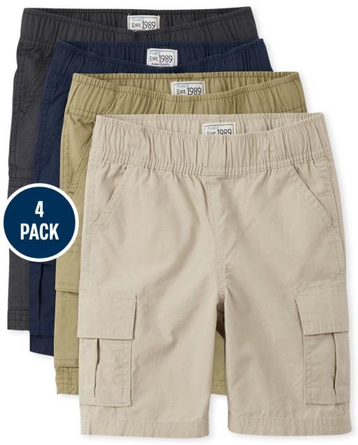 Paquete de 4 pantalones cortos tipo cargo sin tirantes tejidos de uniforme para niños