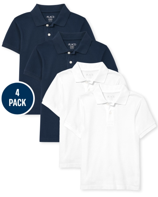 Boys Uniform Short Sleeve Pique Polo 4-Pack