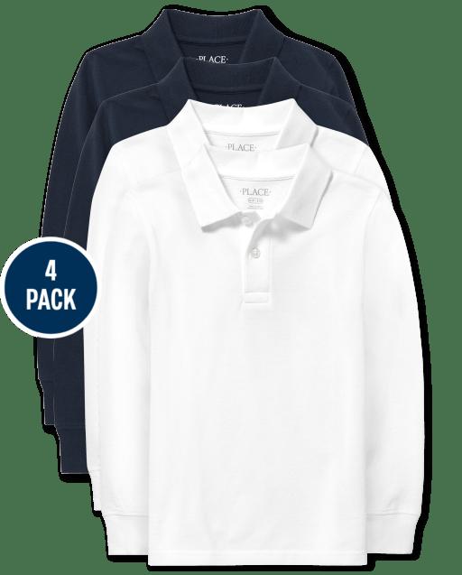 Polo de piqué de manga larga de uniforme para niños, paquete de 4