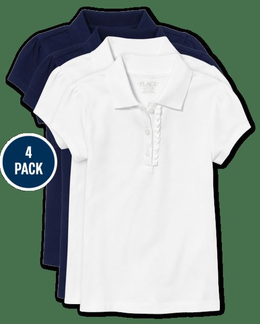 Conjunto de 4 polos de piqué con volantes y manga corta de uniforme para niñas