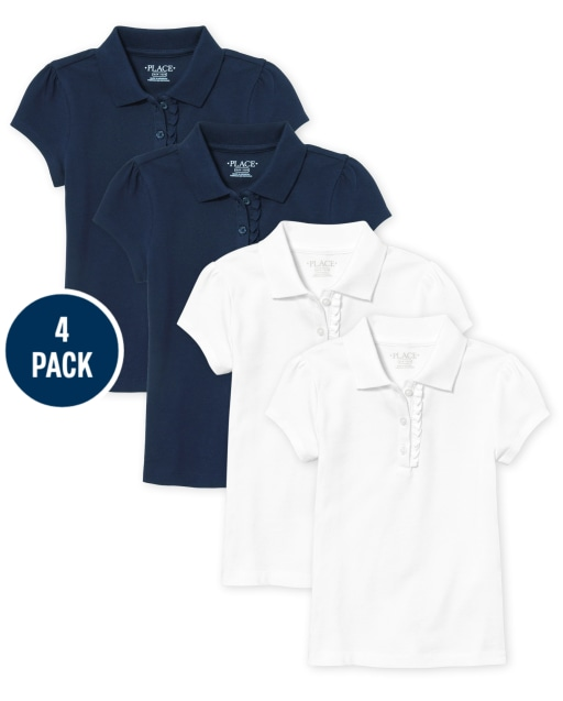 Toddler Girls Uniform Short Sleeve Ruffle Pique Polo 4-Pack