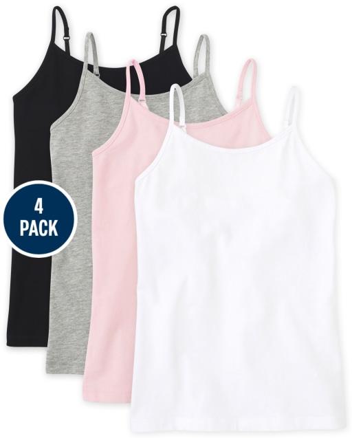 Camiseta básica sin mangas para niñas, paquete de 4