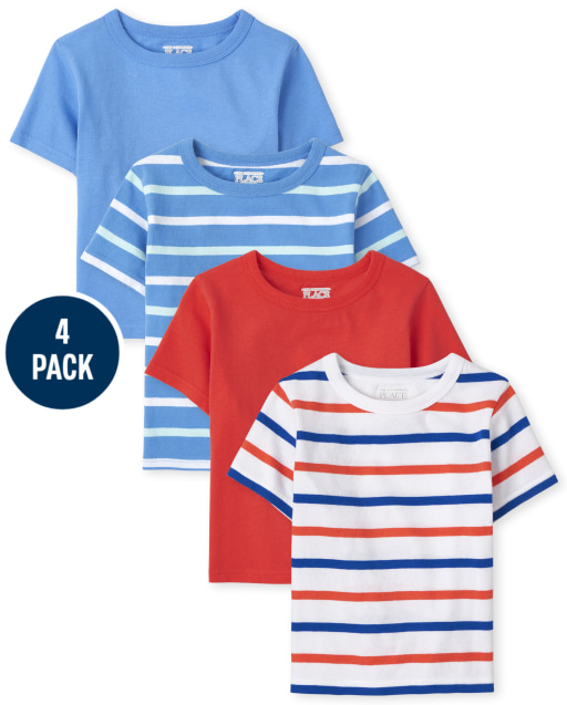 Toddler Boys Short Sleeve Solid And Striped Top 4-Pack