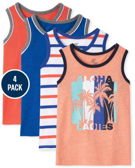 Toddler Boys Mix And Match Solid Aloha And Striped Tank Top 4-Pack