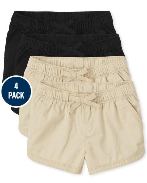 Toddler Girls Woven Pull On Shorts 4-Pack