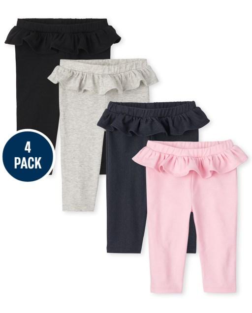 Baby Girls Knit Ruffle Pants 4-Pack