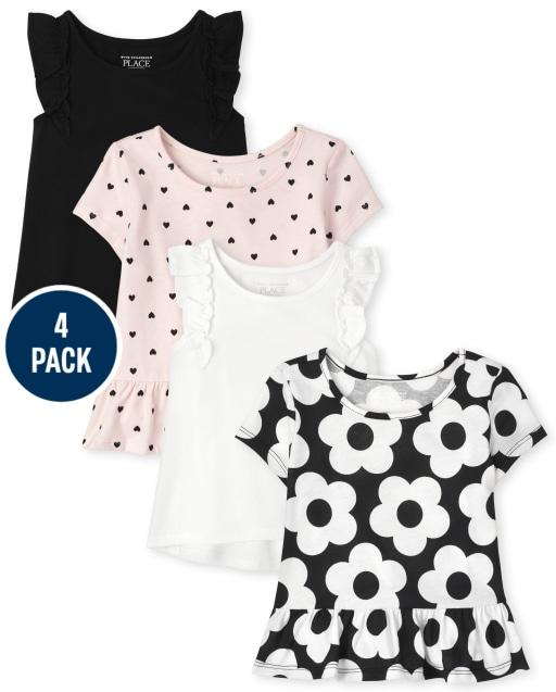 Paquete de 4 blusas con volantes y estampado de manga corta para niñas pequeñas