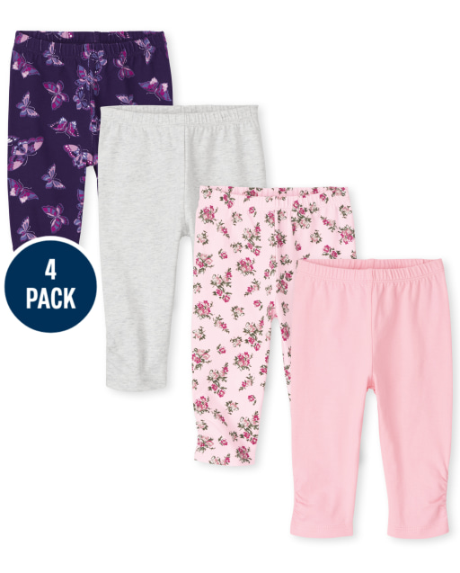 Baby Girls Floral Butterfly Print Knit Pants 4-Pack