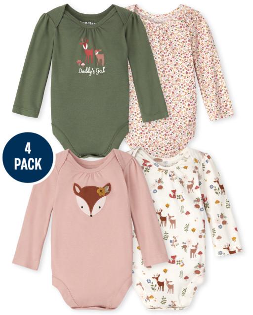 Baby Girls Long Sleeve Deer Bodysuit 4-Pack