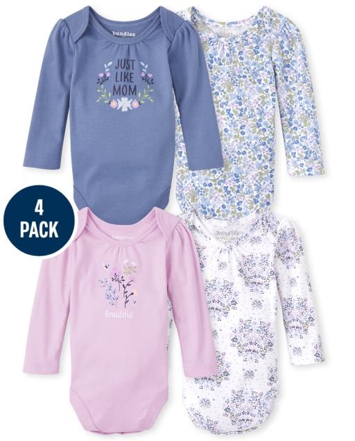 Baby Girls Long Sleeve Floral Bodysuit 4-Pack