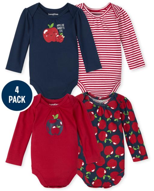 Baby Girls Long Sleeve Apple Bodysuit 4-Pack