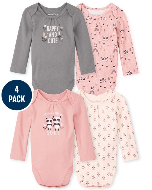 Baby Girls Long Sleeve Panda Bodysuit 4-Pack