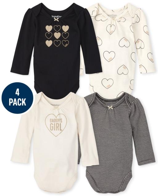 Baby Girls Long Sleeve Heart Bodysuit 4-Pack