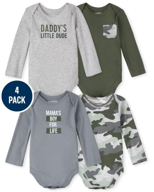 Baby Boys Long Sleeve Camo Bodysuit 4-Pack