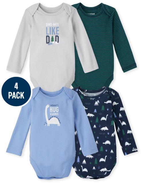 Baby Boys Long Sleeve Dino Bodysuit 4-Pack