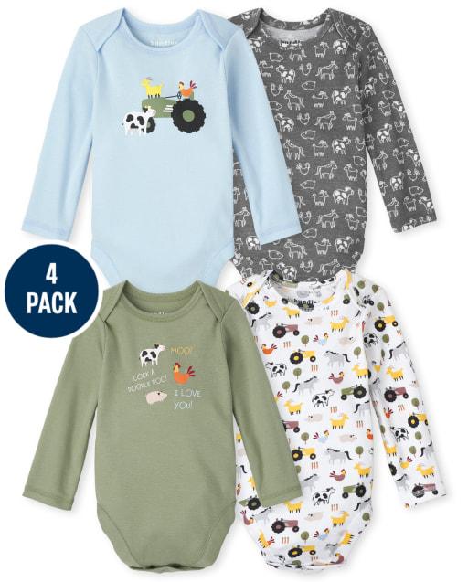 Baby Boys Long Sleeve Farm Animals Bodysuit 4-Pack