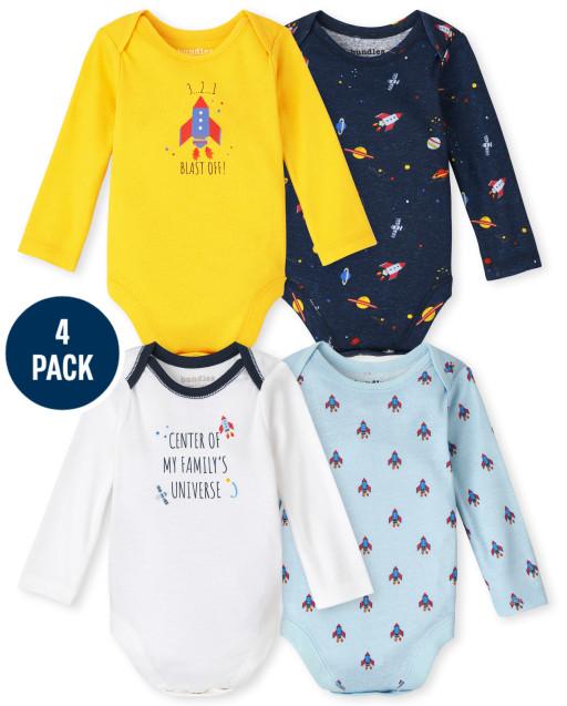 Baby Boys Long Sleeve Space Bodysuit 4-Pack