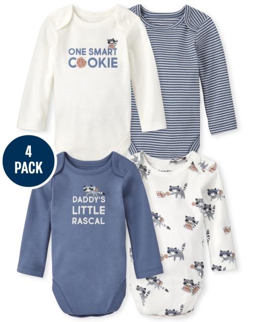 Baby Boys Long Sleeve Cooke Bodysuit 4-Pack