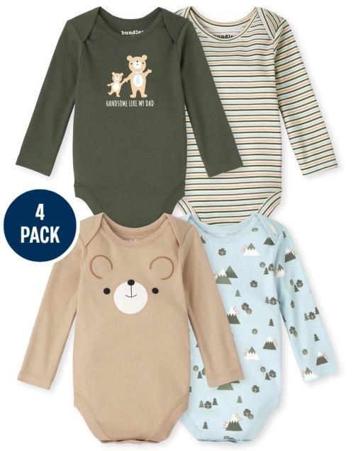 Baby Boys Long Sleeve Bear Bodysuit 4-Pack
