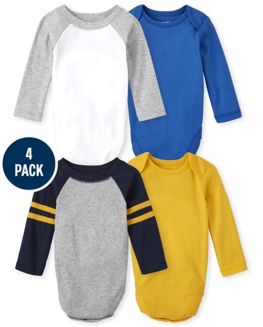 Baby Boys Long Sleeve Raglan Bodysuit 4-Pack