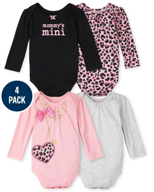 Baby Girls Long Sleeve Leopard Bodysuit 4-Pack